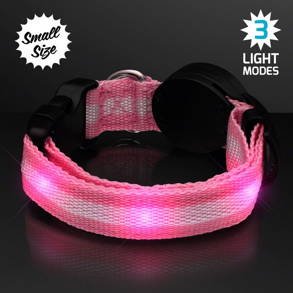 Pink Light Up Dog Collars, Small to Medium