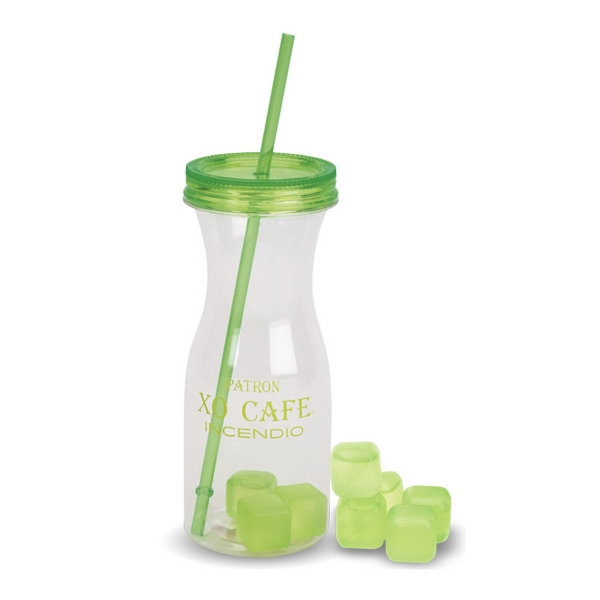 30 OZ. CARAFE STYLE WATER BOTTLE WITH MATCHING ICE STRAW AND