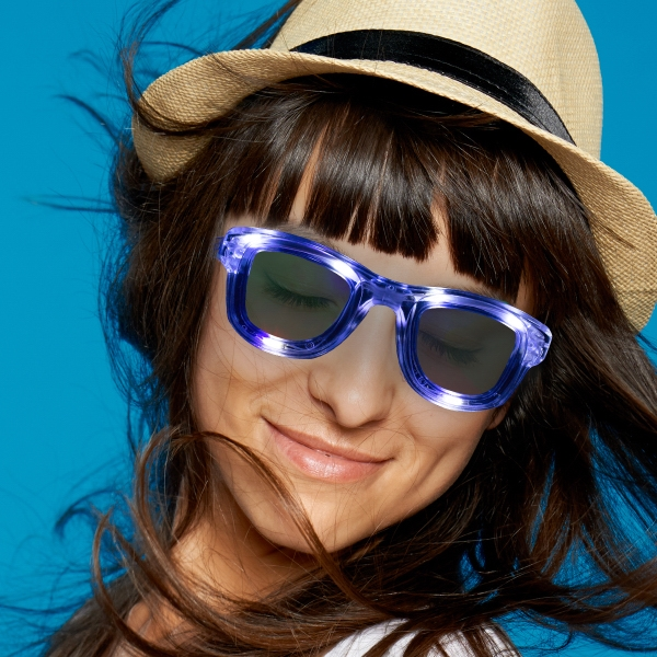 White LED Classic Retro Sunglasses with Sound Option