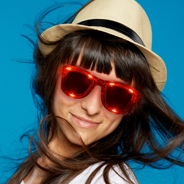 Red LED Trendy Sunglasses with Sound Reactive Option