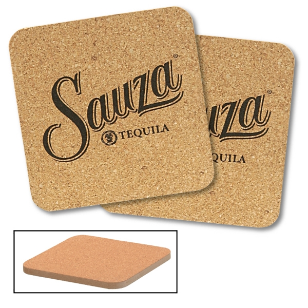Square Cork And Fiberboard Round Beverage Coaster