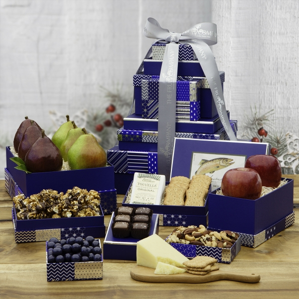 8 Box Grand Holiday Gift Tower-Blue