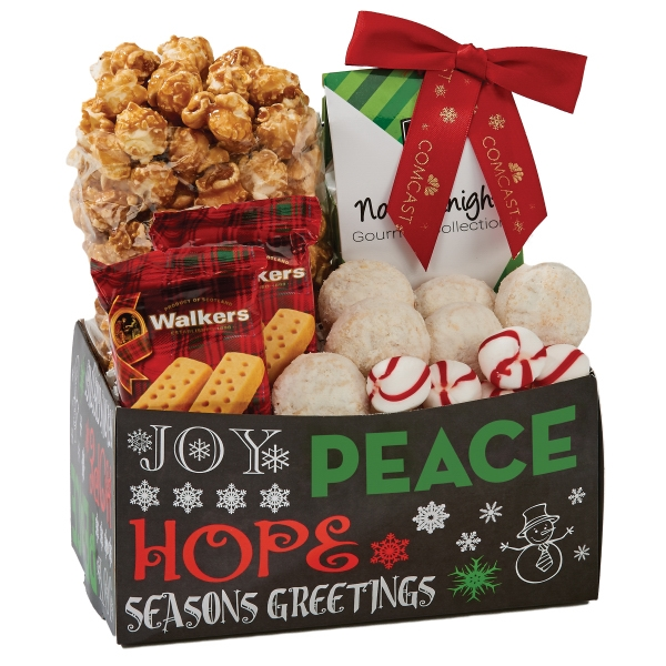 Holiday Snack Caddy Box with Peppermints, Cookies, Popcorn
