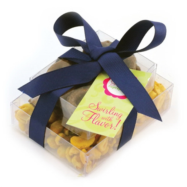 Double Stack Present Container with Mixed Nuts and Pretzels