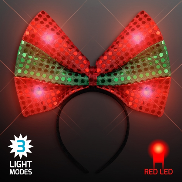 Light Up Festive Christmas Bow Headbands