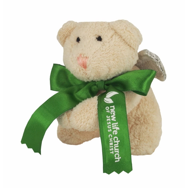 "3"" Angel Bear with Wings With Ribbon and One Color Imprint"