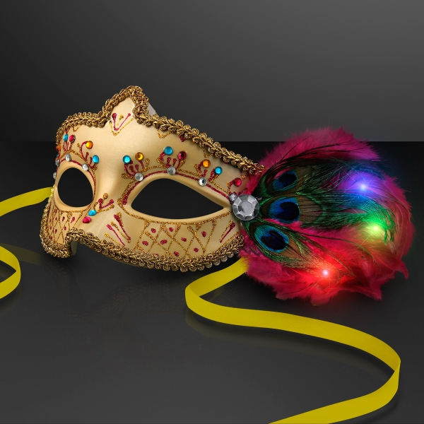 Mardi Gras Masks with LED Light Up Feathers