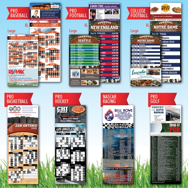 USA Sports Magnets - Full color USA-made magnets with sports schedules.