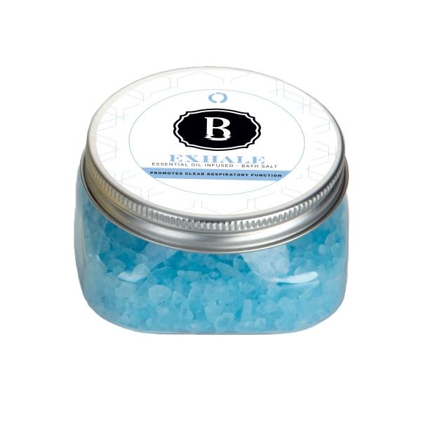 Essential Oil Infused Bath Salts in Square Plastic Jar