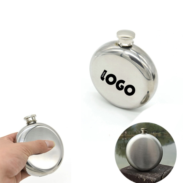 Shiny Round Stainless Steel Flask with Patterns
