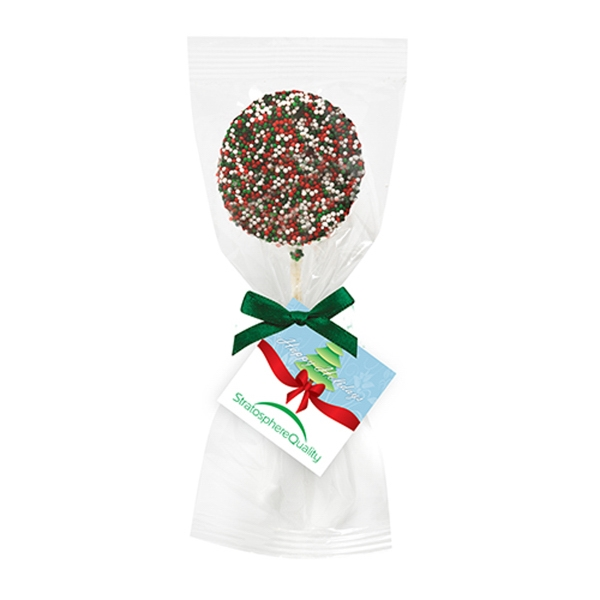 Chocolate Covered Oreo Pop w/ Holiday Nonpareil Sprinkles