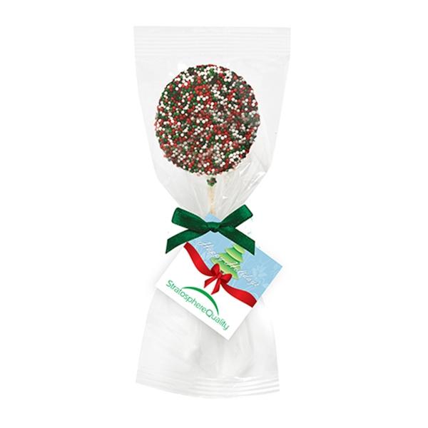 Chocolate Covered Oreo Pop w/ Holiday Nonpareil Sprinkles