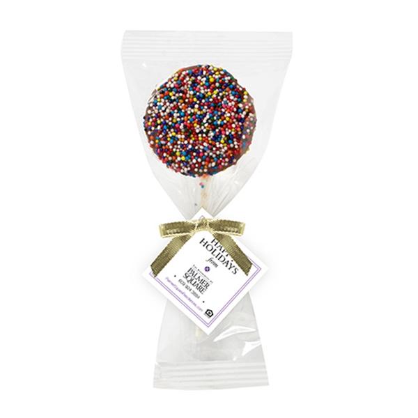 Chocolate Covered Oreo Pop With Rainbow Nonpareil Sprinkles