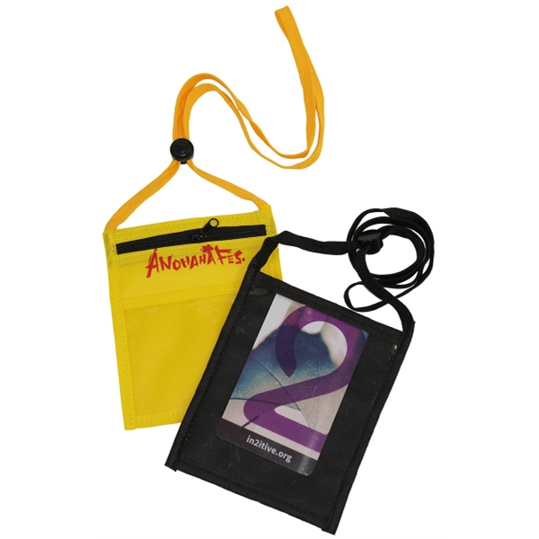 Neck wallet Event Pouch w/ front zipper and printed Lanyard