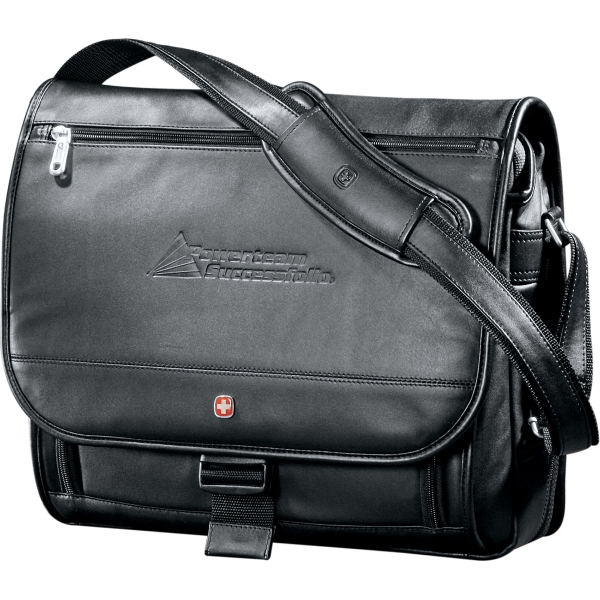 "Wenger(R) Executive Leather 17"" Computer Messenger"