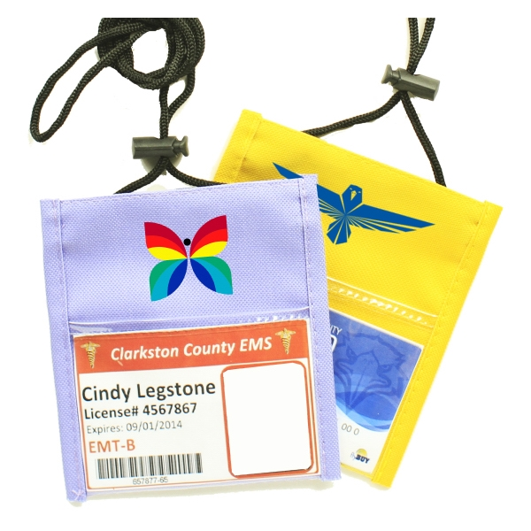 Purple Non-Woven Convention Pouches with Rope Lanyard