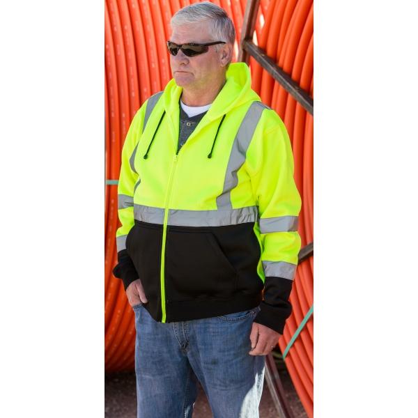 ANSI Class 3 Full Zip Hooded Sweatshirt with Black Bottom
