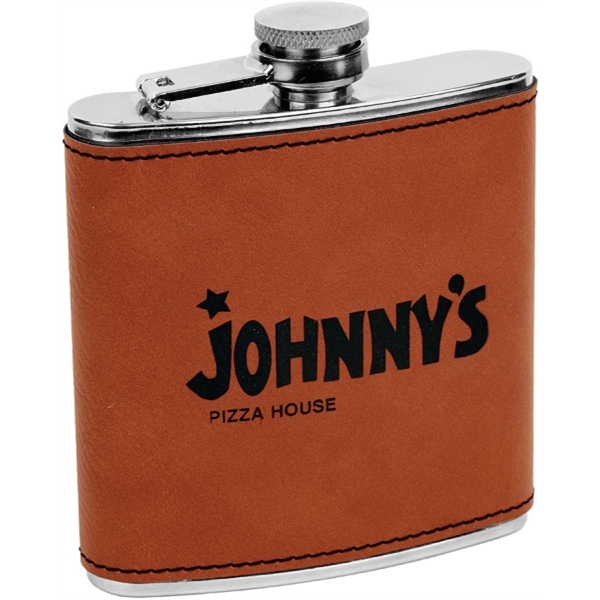6 oz. Laser Engraved Stainless Steel Flask, Raw Leatherette