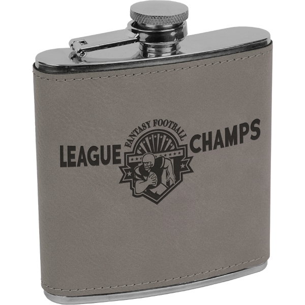 6 oz. Laser Engraved Stainless Steel Flask, Gray Leatherette