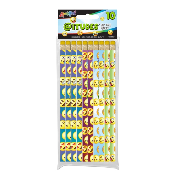 Ten Pack @iTUDES Emoji Silly Face #2 Fashion Pencils
