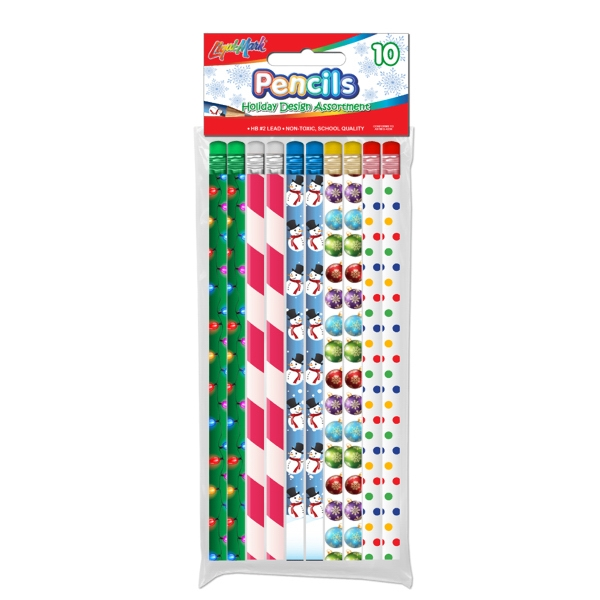 Holiday Theme # 2 Fashion Pencils with Eraser - 10 Pack
