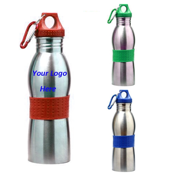 Stainless Steel 21 Oz Water Bottle W/Carabiner