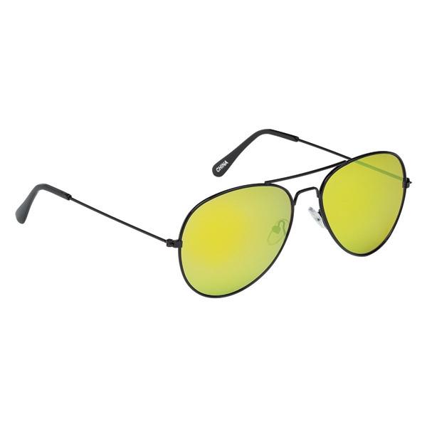 Black Frame Color Mirrored Aviator Sunglasses