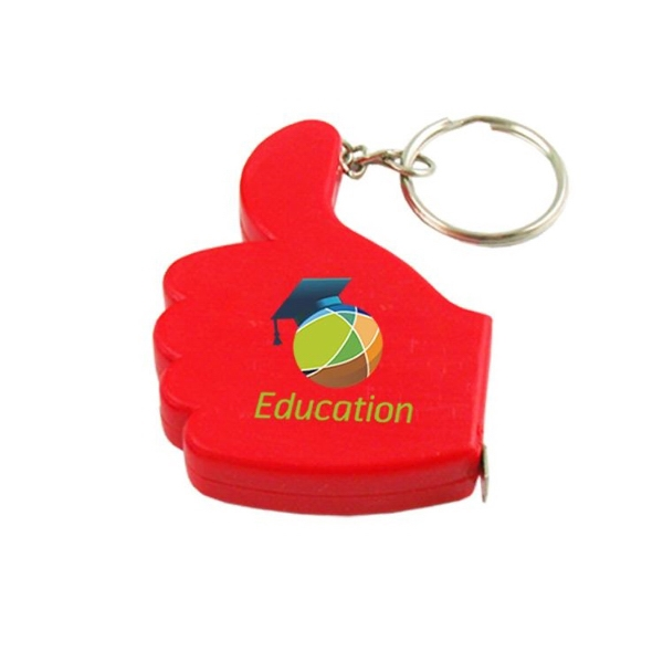 3' Thumbs Up Tape Measure W/Key Chain