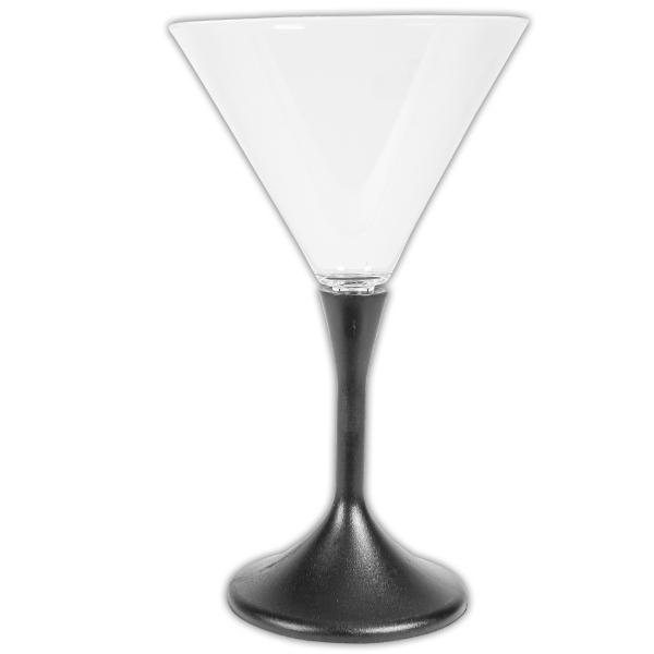 7 oz. Lighted LED Frosted Martini Glass with Black Base