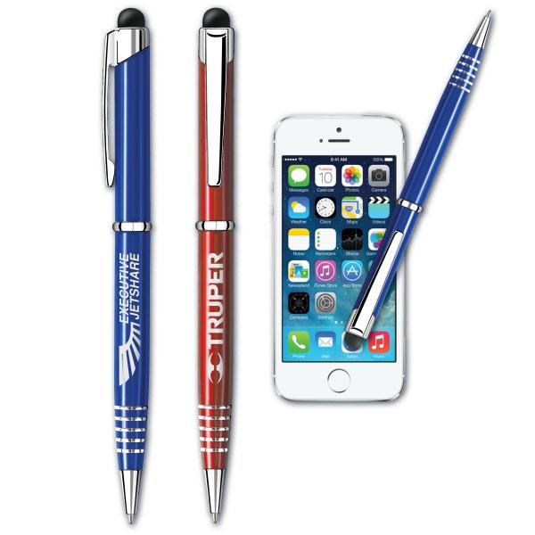The iFinity (TM) Aluminum Pen + Stylus - Slim barrel twist action ballpoint aluminum pen and stylus.