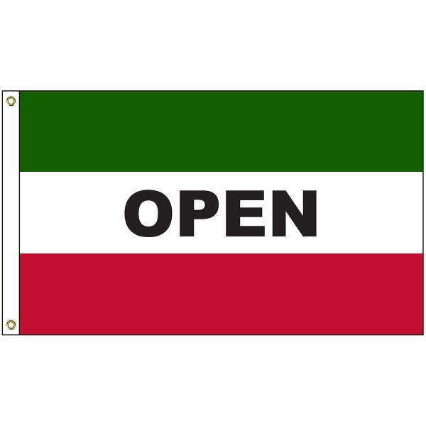 Open 3' x 5' Message Flag with Heading and Grommets