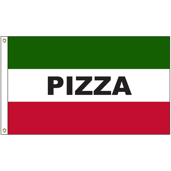 Pizza 3' x 5' Message Flag with Heading and Grommets