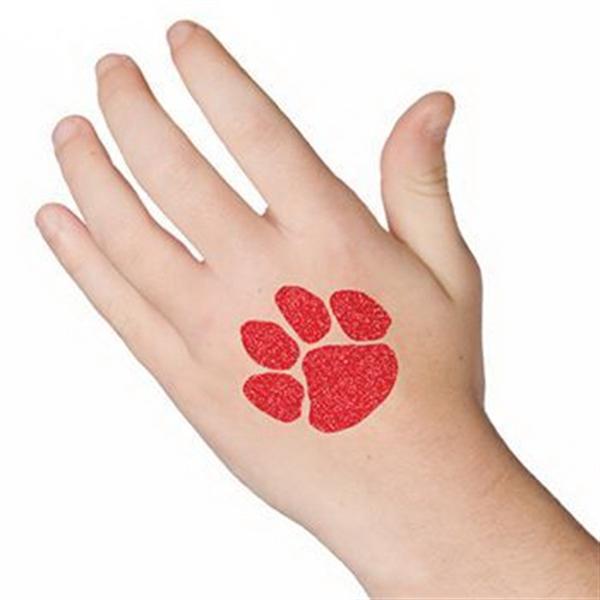 Glitter Red Paw Print Temporary Tattoo