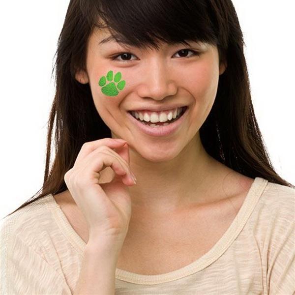 Metallic Green Paw Print Temporary Tattoo - Metallic Green Paw Print Temporary Tattoo