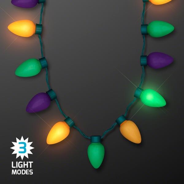 Mardi Gras LED Jumbo Bulbs Strand Necklaces