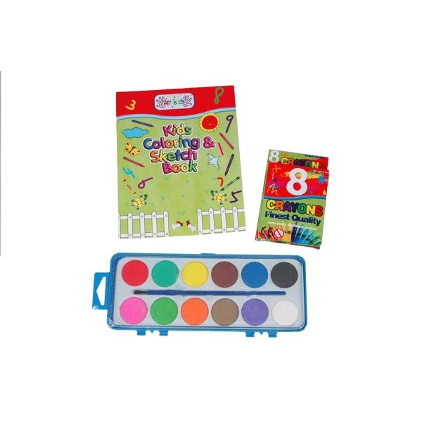 12 Water Colors, 6 Color Pencils, & A Book