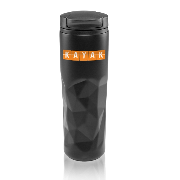 13.5 oz Stainless Steel Travel Mugs with Geometric Pattern
