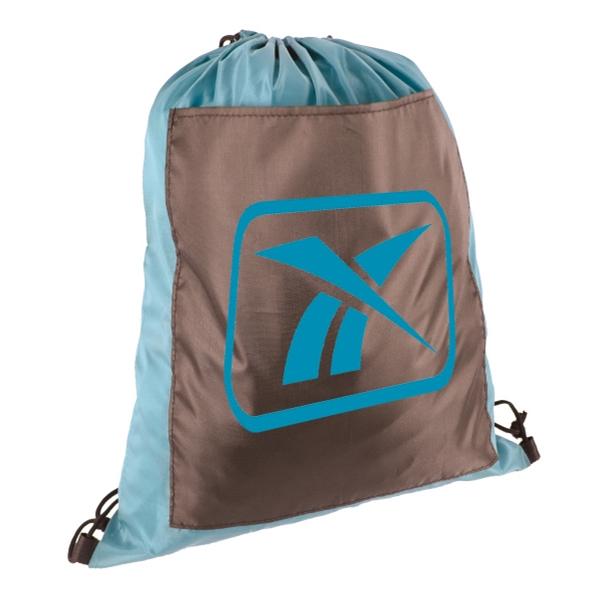 Drawstring Backpack zipper less Front Pocket Cinch Bag