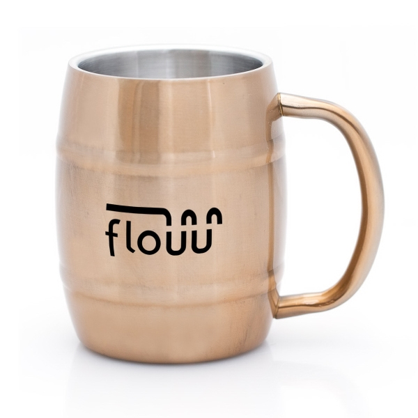 PAVEL 14 OZ. COPPER AND STAINLESS STEEL BARREL MUG