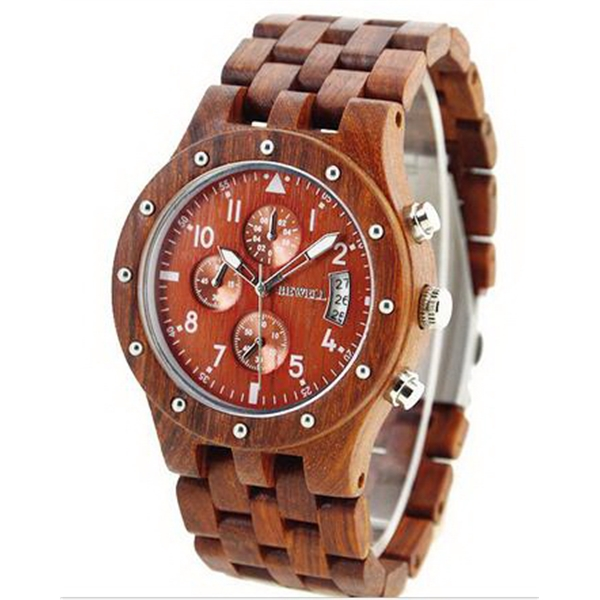 Men's Date Time Week 24 Hours Wood Wooden Watches Round QUAR