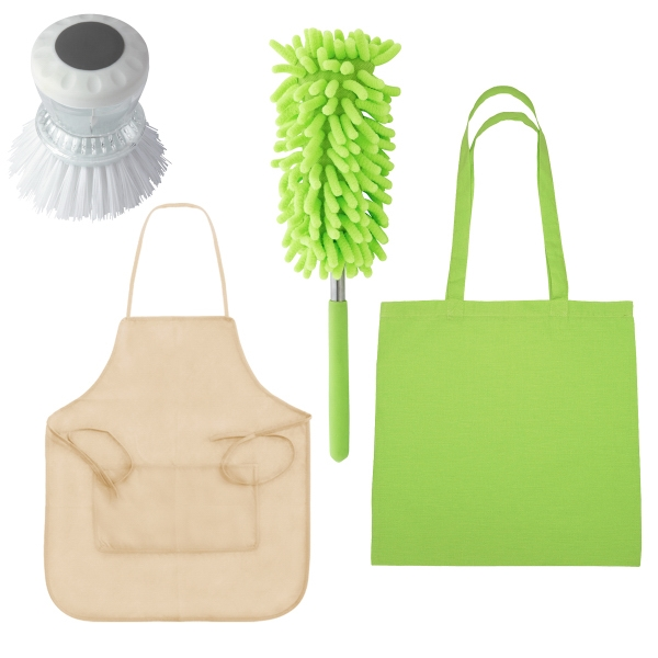 Clean Up Kit - Kit includes: full apron, kitchen scrub brush, telescopic dust wand and tote bag.