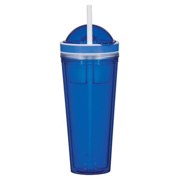 16 Oz. Snack Attack Tumbler - 16 Oz. Snack Attack Tumbler. AS Material.  Screw On, Spill-Resistant Flip-Top  Lid With Matching 10 Straw.  BPA Free.