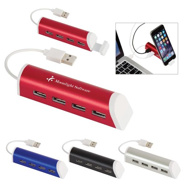 4-Port Aluminum USB Hub With Phone Stand