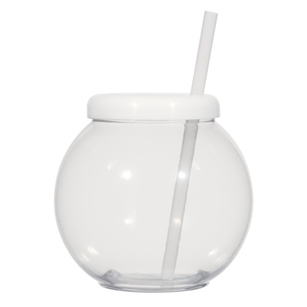 """20 oz. Fish Bowl Cup with Straw - 20 oz. Fish Bowl Cup with 6"""" Straw."""