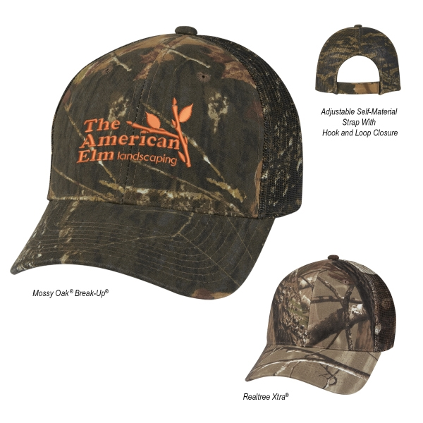 Realtree (TM) & Mossy Oak (R) Hunter's Retreat Mesh Back Cap - Hunter's Retreat Mesh Back Camouflage Cap. 60% Cotton/40% Polyester. 6 Panel, Medium Profile.