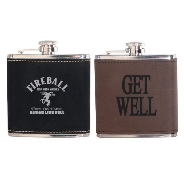 Leatherette Wrapped 6 oz. Stainless Steel Hip Flask