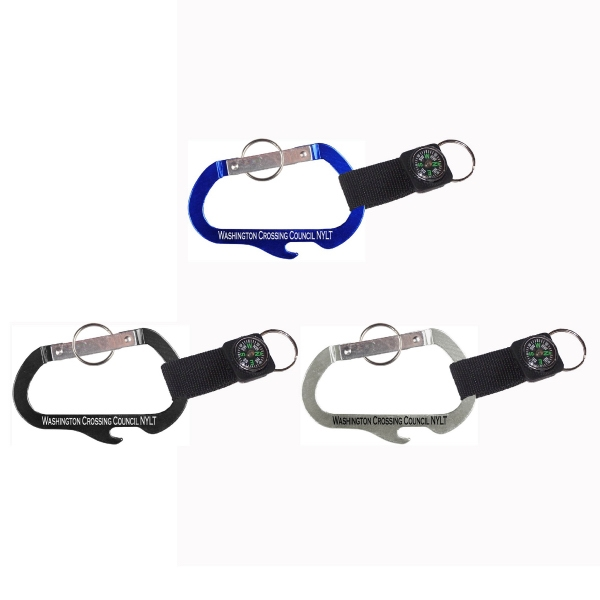 Carabiner with Bottle Opener and Compass