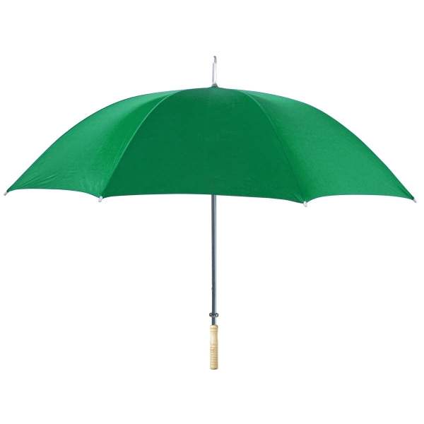 "48"" Arc Umbrella - Automatic open umbrella with wood handle and metal shaft."