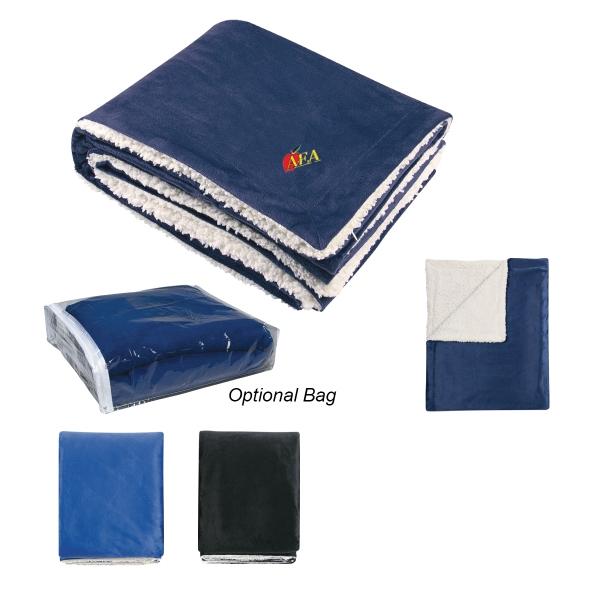 """Sherpa Blanket - Sherpa blanket, 60"""" x 50"""", 100% polyester fleece."""