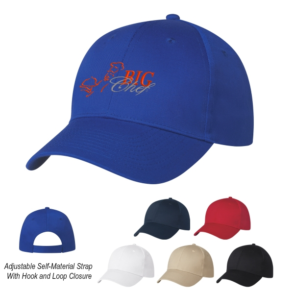 6 Panel Polyester Cap - 6 Panel Polyester Cap.  100% Polyester.  6 Panel, Medium Profile.  Structured Crown & Pre-Curved Visor.